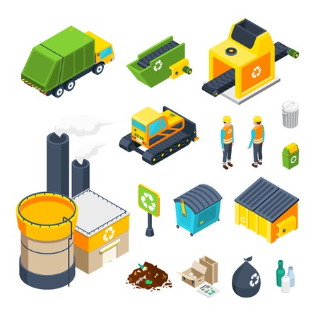 Ilustración de Isometric icon set of different elements of garbage collecting sorting and recycling system isolated vector illustration - Imagen libre de derechos