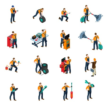 Illustration pour Car service isometric icons set with people and equipment symbols isolated vector illustration - image libre de droit