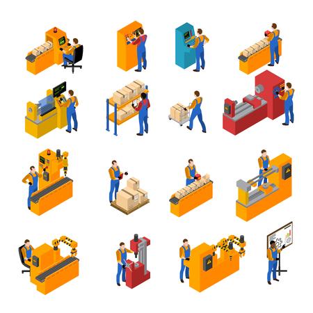 Ilustración de Factory workers isometric icons set with production symbols isolated vector illustration - Imagen libre de derechos