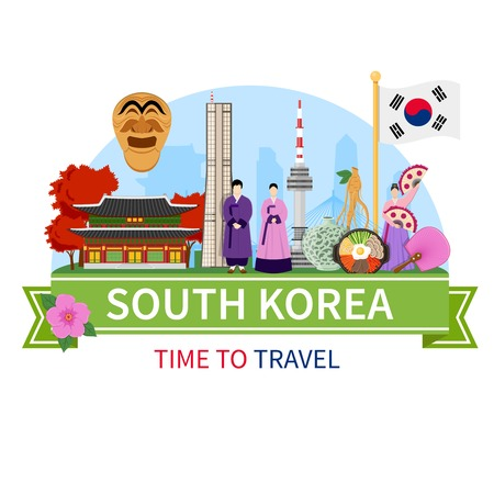 Illustration for South korea national cultural symbols sightseeing places of interest for tourists flat composition advertisement poster vector illustration - Royalty Free Image