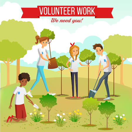 Illustration pour Gardening and planting seedlings  in the park by volunteer boys and girls group flat vector illustration - image libre de droit