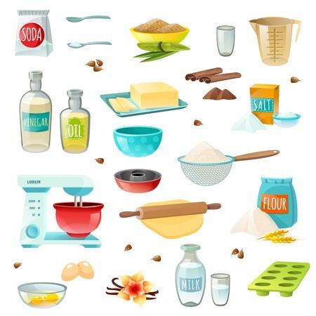 Illustration pour Baking ingredients colored isolated icons set with flour sugar salt butter eggs milk cinnamon vanilla vector illustration - image libre de droit