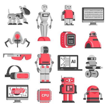 Illustration pour Artificial intelligence flat decorative icons set of robotic models and virtual reality headset isolated vector illustration - image libre de droit