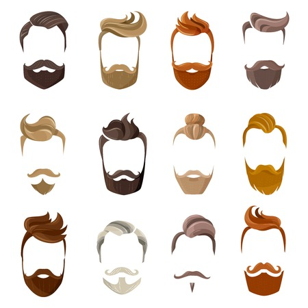 Illustration for Colorful male silhouette faces with hispter beard and hair styles isolated on white background flat vector illustration - Royalty Free Image