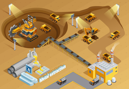 Illustration pour Mining and metal extraction background with machinery and equipment symbols isometric vector illustration - image libre de droit