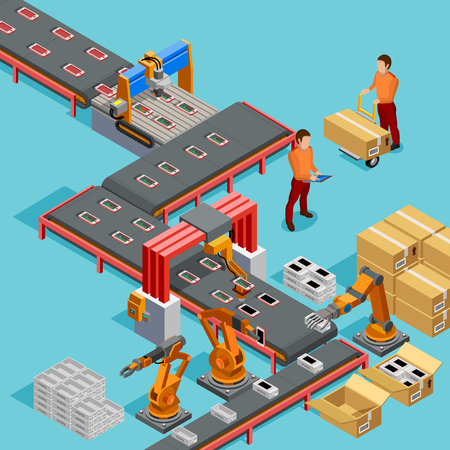 Ilustración de Automated factory assembly line with robotic arm and conveyor belt controlled manufacturing process isometric poster vector illustration - Imagen libre de derechos