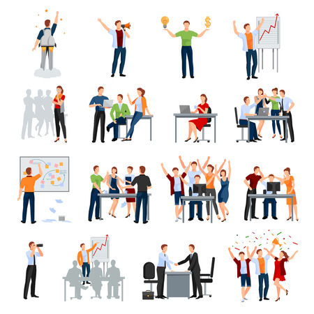 Illustration pour Business startup work moments flat icons collection with meeting planning presentation brainstorming teamwork and success isolated vector illustration - image libre de droit