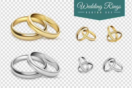 Illustration pour Wedding rings set of gold and silver metal on transparent background isolated vector illustration - image libre de droit