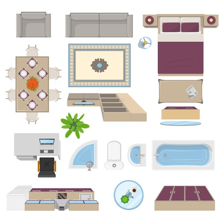 Illustration pour Interior elements top view position with kitchen lounge bathroom bedroom furniture isolated vector illustration - image libre de droit