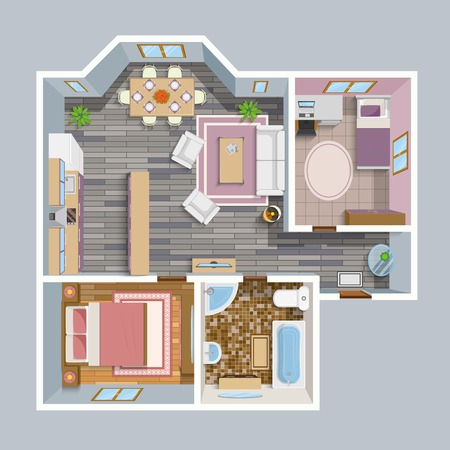 Illustration pour Architectural flat plan top view with living rooms bathroom kitchen and lounge furniture vector illustration - image libre de droit