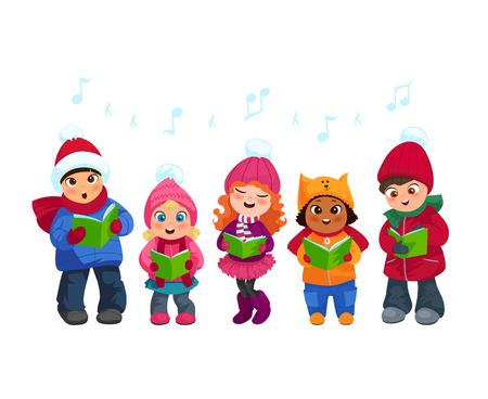 Illustration for Cute little kids going Christmas caroling flat vector illustration - Royalty Free Image