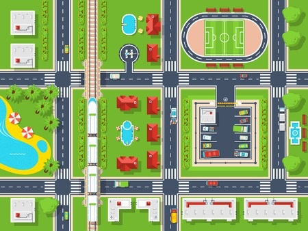 Illustration pour City map top view poster with roads houses pool parking field and railroad flat vector illustration - image libre de droit