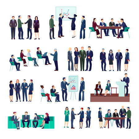 Illustration pour Business people groups collection at meetings briefings conference discussing different projects and financial strategies isolated vector illustration - image libre de droit