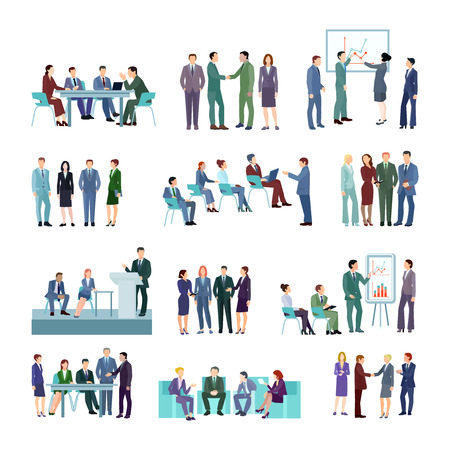 Illustration pour Flat meeting conference groups set of business people discussing strategies of company development isolated vector illustration - image libre de droit