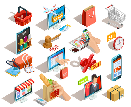 Ilustración de Online shopping isometric shadow icons collection with grocery travel books and clothing  ecommerce stores orders isolated vector illustration - Imagen libre de derechos