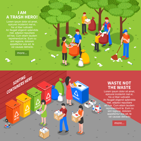 Illustration pour Set of two horizontal garbage recycling banners with colorful isometric compositions of people sorting waste rubbish vector illustration - image libre de droit