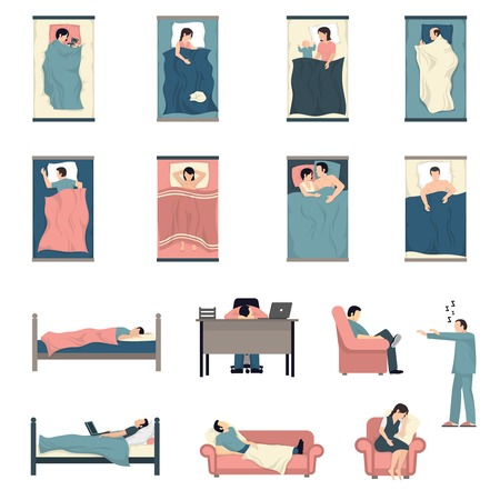 Illustration pour People sleeping in bed with kids cats together and at work desk flat icons set isolated vector illustration - image libre de droit