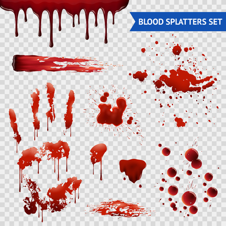 Ilustración de Blood spatters realistic bloodstains patterns set of smears splashes drippings drops and handprint with transparent background vector illustration - Imagen libre de derechos