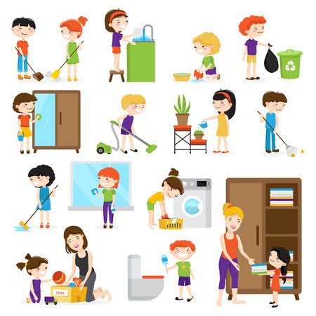 Illustration pour Colorful cartoon set with kids cleaning rooms and helping their mums isolated on white background vector illustration - image libre de droit