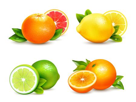 Illustration pour Fresh citrus fruits whole and halves 4 realistic icons square with orange grapefruit lemon isolated vector illustration - image libre de droit