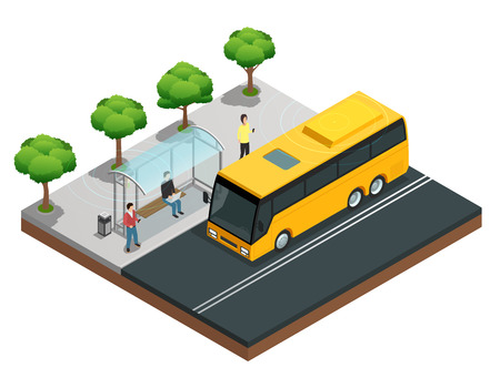 Illustration pour City wireless communication isometric concept with people on a bus stop vector illustration - image libre de droit