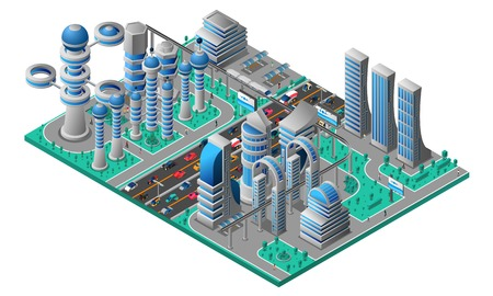 Illustration pour Futuristic cityscape isometric template with buildings of future road car and trees vector illustration - image libre de droit