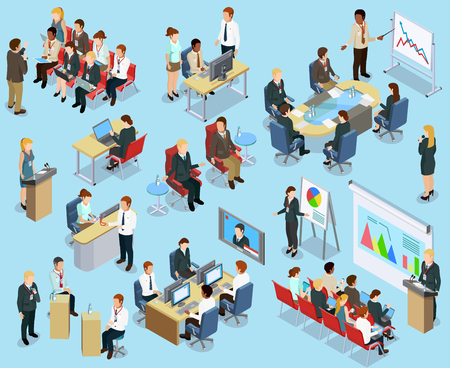 Illustration for Business coaching isometric collection with different ways of employee training and development isolated vector illustration - Royalty Free Image