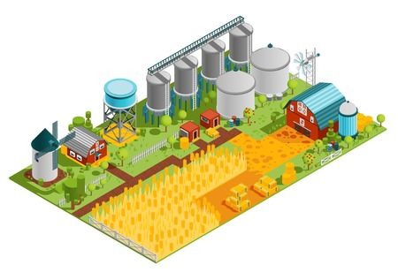 Illustration pour Farm rural buildings isometric composition with houses reservoirs mill and plantation field of wheat vector illustration - image libre de droit