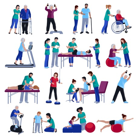 Illustration pour Physiotherapy rehabilitation sessions for people with cardiovascular geriatric and neurological disorders flat icons collection isolated vector illustration - image libre de droit