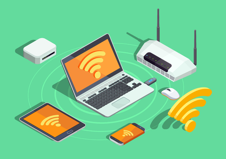 Illustration pour Wireless technology devices isometric poster with laptop printer smartphone router and wifi internet connection symbol vector illustration - image libre de droit