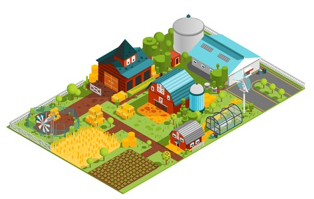 Illustration pour Composition of modern farm rural buildings orchard house plantations isometric images with built structures and plants vector illustration - image libre de droit