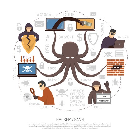 Ilustración de Internet hackers groups gangs and criminal professional programmers net flat round infographic poster with octopus symbol vector illustration - Imagen libre de derechos