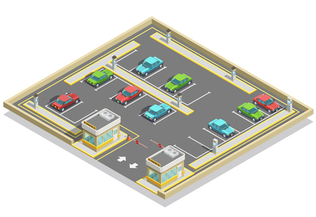Illustration pour Parking zone isometric location with colorful cars many lots and access control vector illustration - image libre de droit