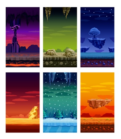 Illustration pour Electronic computer video games 6 beautiful screen display fantastic landscapes elements set colorful cartoon isolated vector illustration - image libre de droit