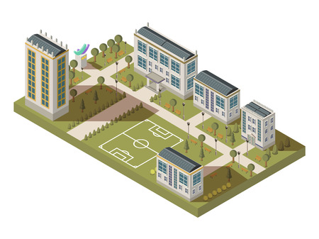 Illustration pour Isometric university big composition with campus yard lanes houses with shadows and football playground vector illustration - image libre de droit