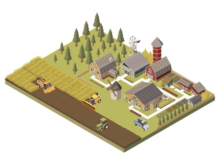 Illustration pour Farm buildings agricultucal vehicles and cultivated fields garden beds and trees tracks and fence isometric vector illustration - image libre de droit