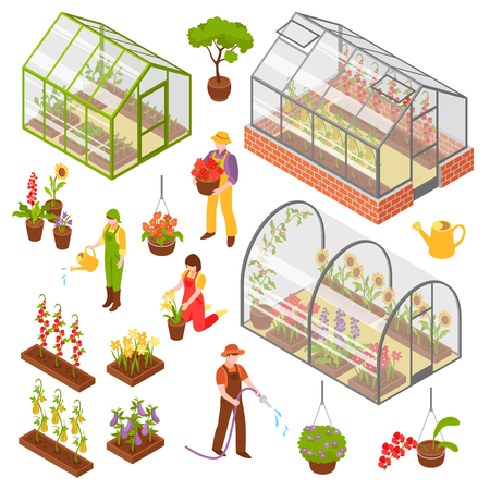Illustration pour Colored and isolated isometric 3d greenhouse icon set with seedling and care of plants vector illustration - image libre de droit