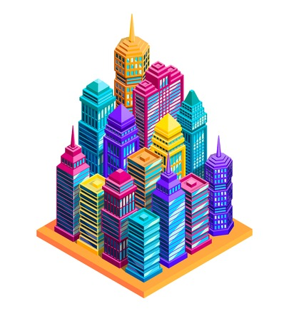 Illustration pour City buildings concept with bright skyscrapers and street isometric vector illustration - image libre de droit
