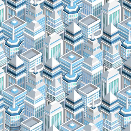 Illustration pour City buildings seamless pattern with skyscrapers isometric vector illustration - image libre de droit