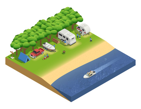 Illustration pour Recreational vehicles on beach isometric composition with people and boat vector illustration - image libre de droit