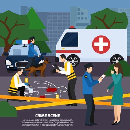 Illustration pour Crime scene with body contour blood traces police experts ambulance car interviewing witness flat style vector illustration - image libre de droit