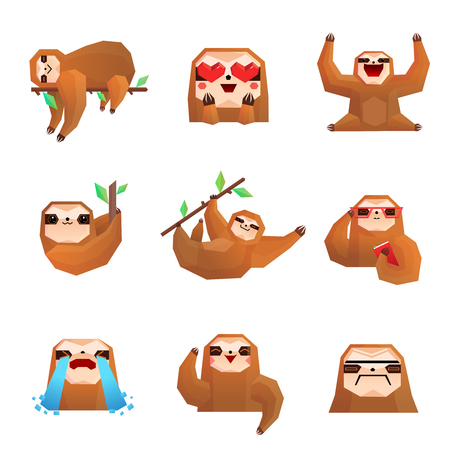 Different emotions of cute sloth polygonal set isolated on white background vector illustration