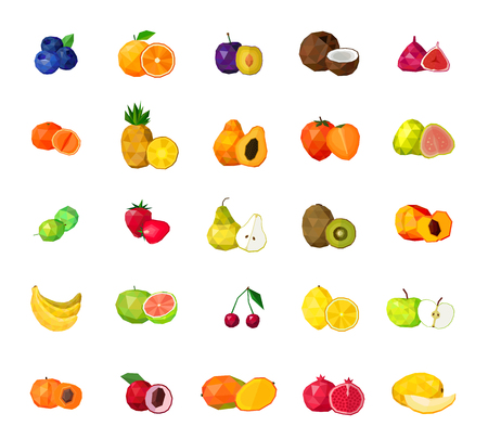 Illustration pour Fresh tropical fruits berries and coconut polygonal icons collection with blueberry figs kiwi mango isolated  illustration - image libre de droit