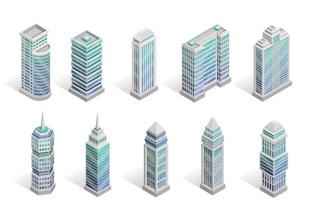 Illustration pour City houses isometric set with different skyscrapers isolated vector illustration - image libre de droit