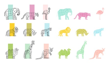 Illustration pour Southern wild animals polygonal linear computer graphic image color choosing process flat icons set vector illustration - image libre de droit