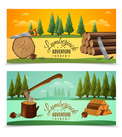 Illustration pour Lumberjack woodcutter outdoor adventures 2 banners set with ax saw and fairytale woodland background isolated vector illustration - image libre de droit