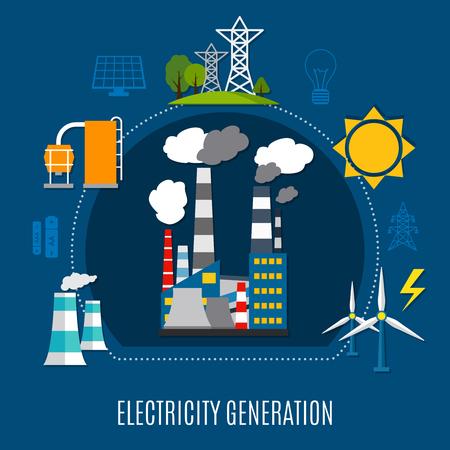 Ilustración de Electricity generation composition with fuel power plant, electrical pylons, solar panels on blue background flat vector illustration - Imagen libre de derechos