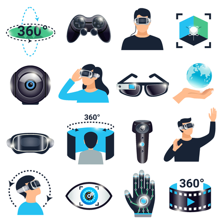 Illustration pour Colored isolated virtual reality visualization simulation icon set glasses with a viewing angle of three hundred and sixty degrees vector illustration - image libre de droit