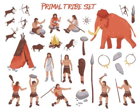 Illustration pour Primal tribe people icons set with weapon and animals flat isolated vector illustration - image libre de droit