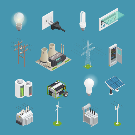 Ilustración de Power icons isometric set with electrical connector socket plug bulb and windmill energy generator isolated vector illustration - Imagen libre de derechos